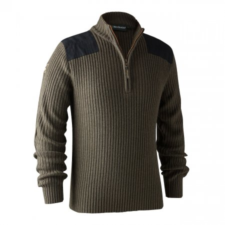Deerhunter Rogaland Brown zip neck pulóver